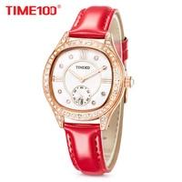 TIME100 New Women Watches Leather Strap Diamond Shell Big Dial Waterproof Ladies Quartz Wrist Watch For Women Relogio Feminino