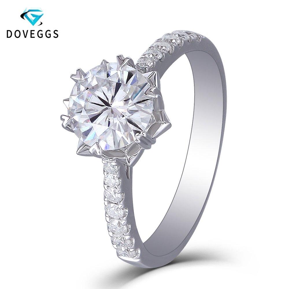 DovEggs 1 Carat 6.5 MILÍMETROS F Cor Roung 14 Brilliant Moissanite Lab Grown Diamante Sólido 585 K Ouro Branco Engajamento anel para As Mulheres