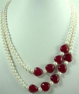 Joyería encantadora 2 filas perla Blanca Roja en forma de corazón Jades Necklac