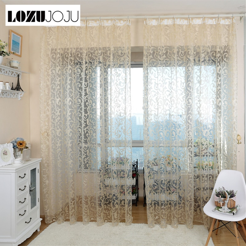 LOZUJOJU, estilo europeo, diseño de hoja jacquard, telas de tul, cortinas transparentes para balcón, dormitorio, sala, ventanas, puerta
