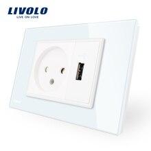 Livolo-prise de courant avec chargeur Usb   Panneau en verre de cristal blanc/noir, prise dalimentation murale AC 250V16A,/12