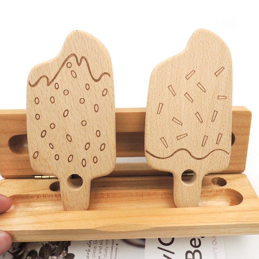 10 Uds. gemany mordedor de helado de haya mordedor colgante de madera para bebé accesorio de madre Australia seguro SGS EA337