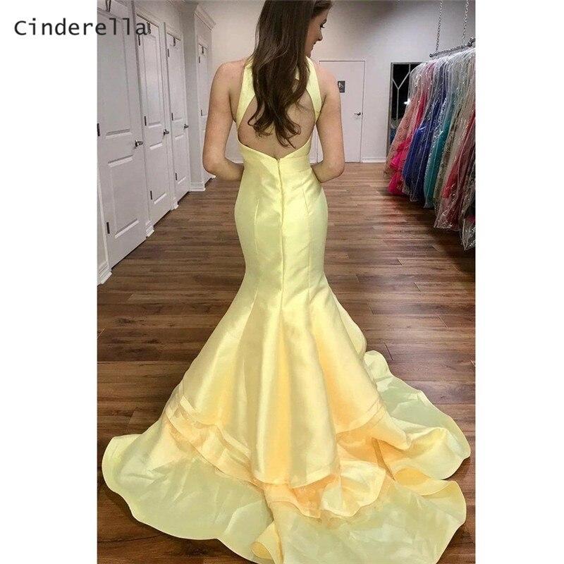 Vestido de noche amarillo de Cenicienta sin mangas, cola de corte, sirena satinada, plisado
