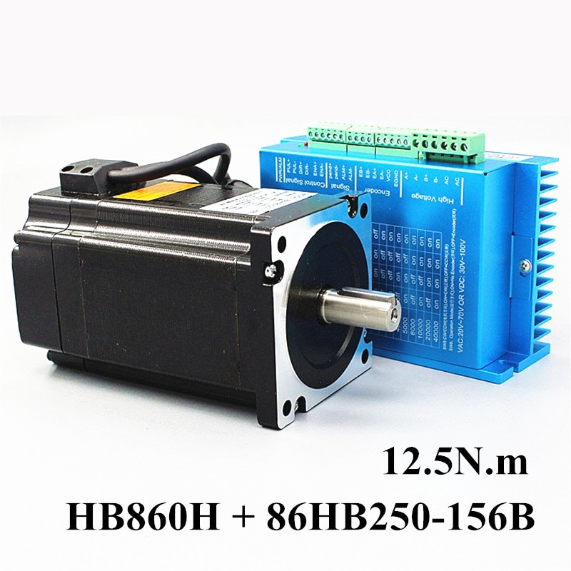 Nema 34 12.5N.m Closed Loop Stepper Motor Kit Hybird Servo Driver HB860H + 86HB250-156B 86 2 Phase S