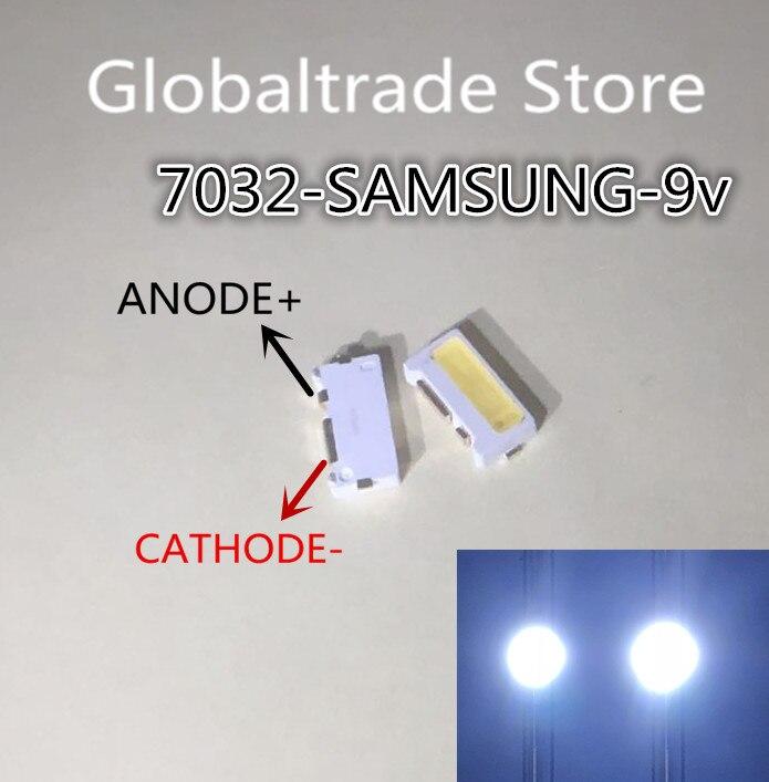 200 unids/lote 7032 lúmenes SMD lado LED perlas blanco frío 1W 350mA 9V para TV/LCD retroiluminación para SAMSUNG