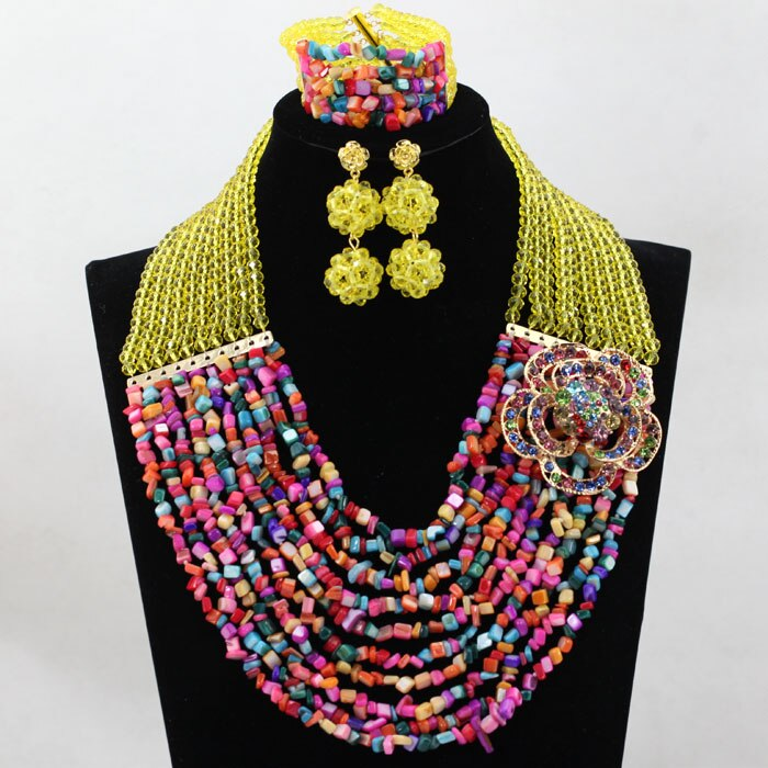 Fantastic Yellow African Coral Beads Wedding Jewelry Set Dubai Gold Bridal Beads Necklace Set HX758