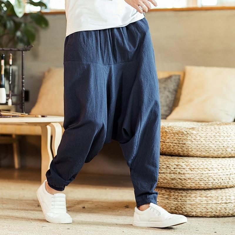 Cotton Linen Cross-Pants Japanese Harajuku Loose Joggers Trousers Hip Hop Harem Pants Wide Leg Baggy Pants Big Size XZ220-2-K18