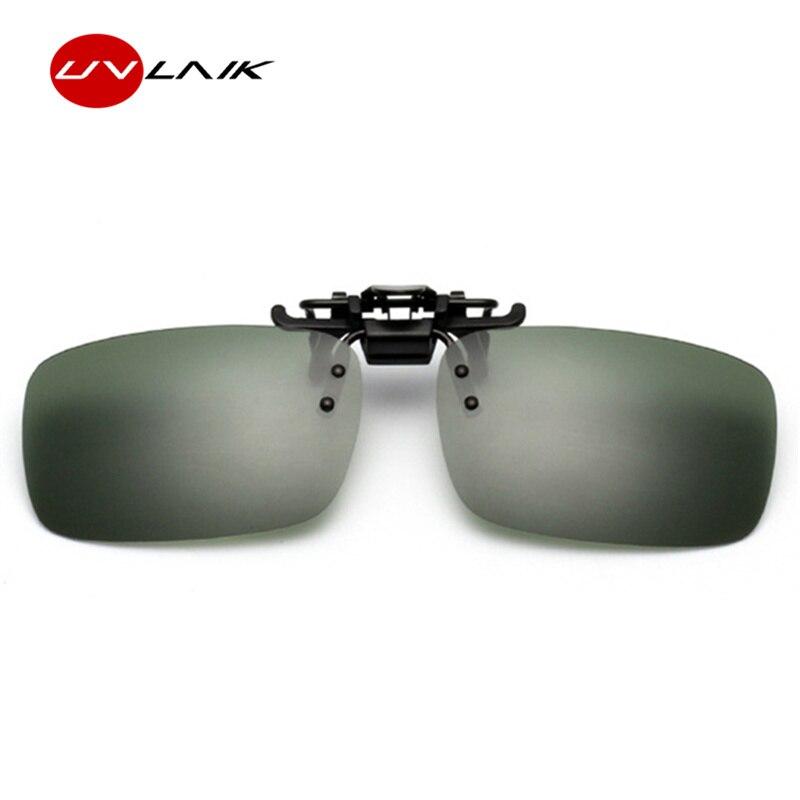 UVLAIK día y noche gafas polarizadas para conducir Clip en gafas de sol hombres mujeres miopía gafas de la marca de los hombres abatible hacia arriba, gafas de sol de UV400
