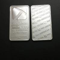 50 pcs non magnetic pan american hammer bullion bar 1 oz silver plated ingot badge 50 mm x 28 mm collectible decoration bars