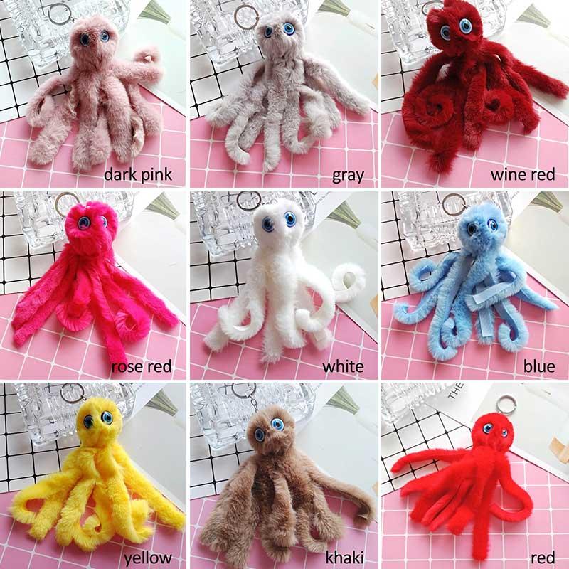 1pcs Plush Octopus Keychain Bag Pendant Jewelry Car Key Decoration Birthday Gift Children Plush Toys