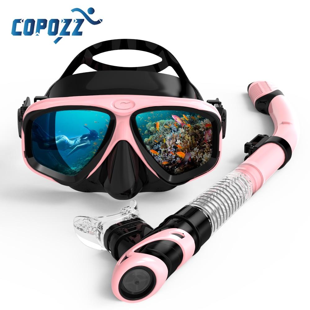 COPOZZ 2021 الغوص قناع الغطس مجموعة مكافحة الضباب نظارات مع غص نظارات أنبوب حزام قابل للتعديل للنساء الرجال الكبار قناع السباحة