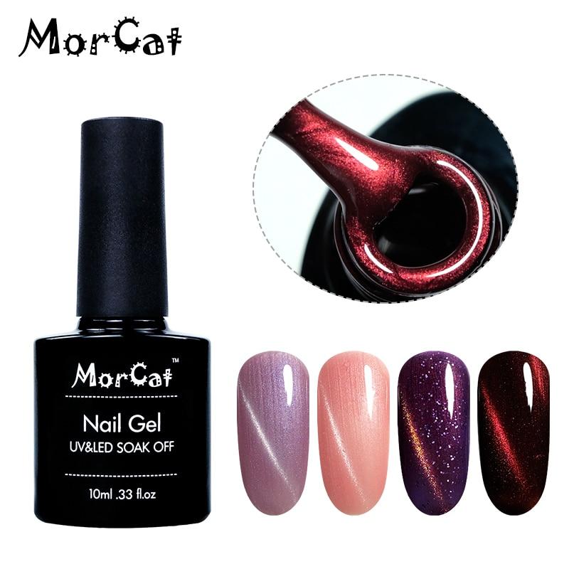 MorCat Cat Eye Gel Nagellack Magnet Lack Tränken Weg Nagel Gel Polnisch Silber Gold Linie Katze Auge UV Gel lack Nail art Lack