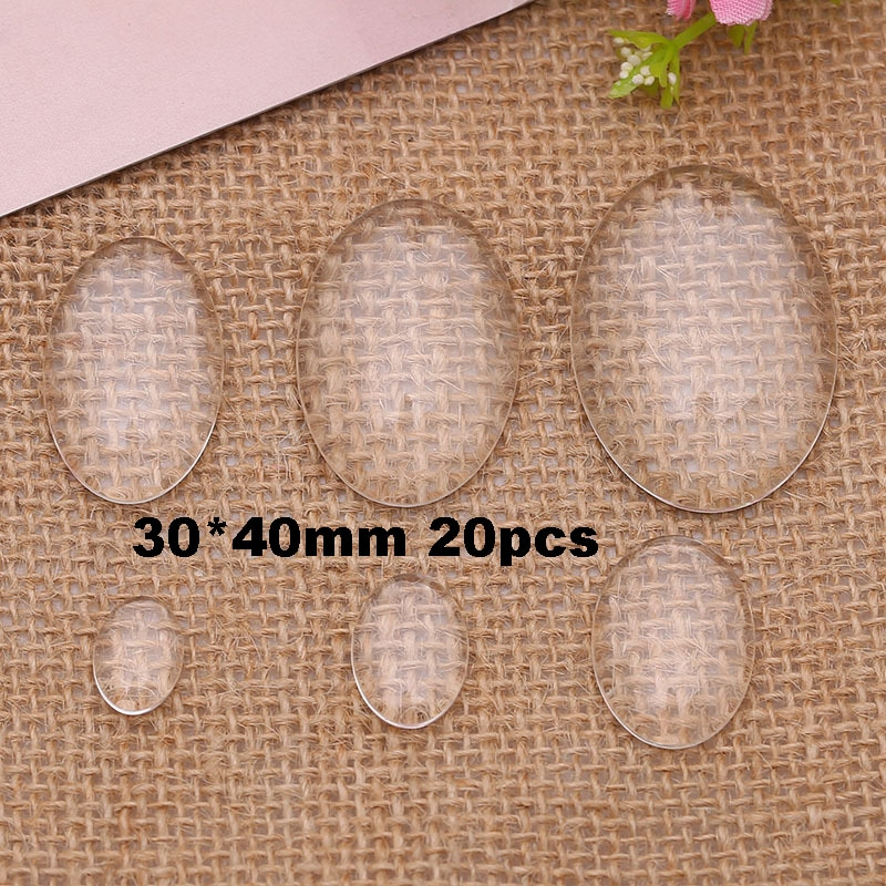 20 unids/lote 30*40mm cúpula de cristal cabujón forma ovalada transparente cubierta posterior plana Cabs para componentes de joyería