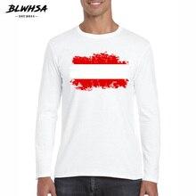 BLWHSA Simple hommes T-shirt Fitness autriche drapeau col rond t-shirts pour hommes manches longues marque hommes printemps automne vêtements