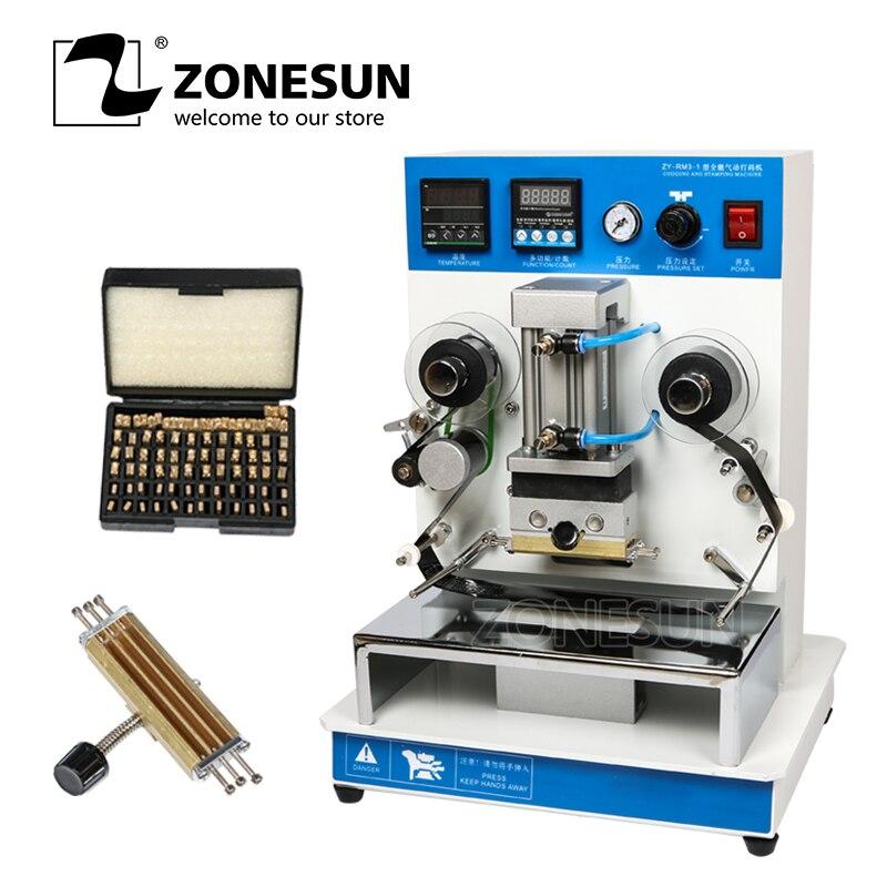 Zonesun ZY-RM3 máquina de carimbo quente automática da folha, logotipo de couro vincando a máquina, stamper do logotipo, caixa de cosméticos