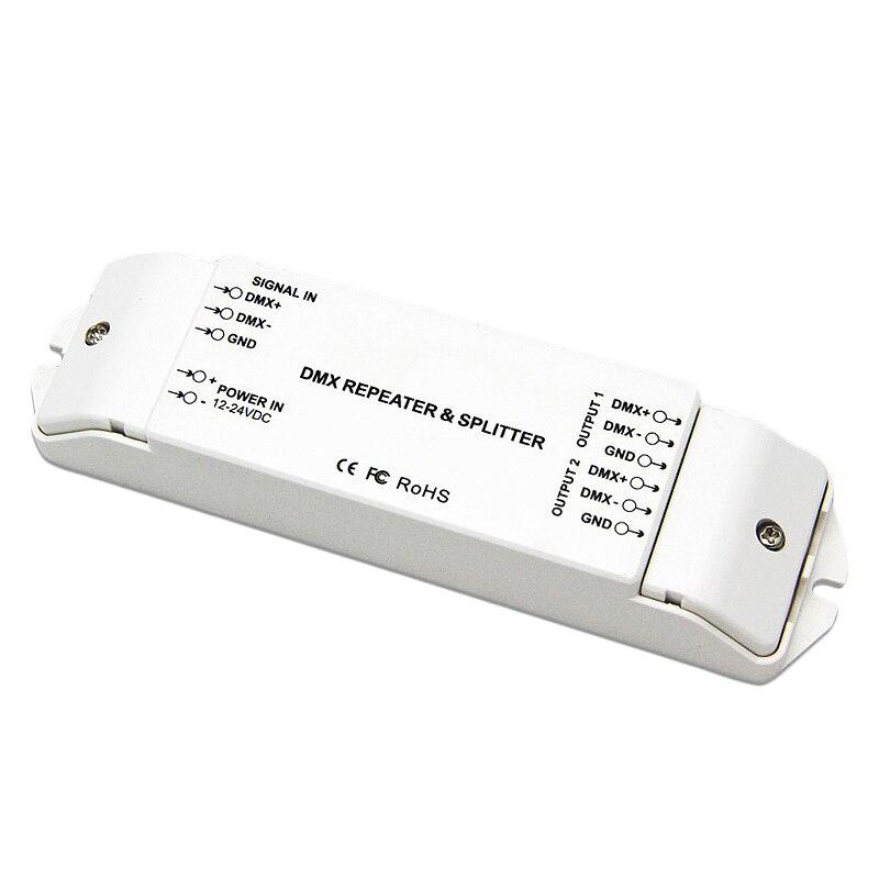 Bc-812 dmx512 sinal de potência repetidor dmx amplificador de potência 1 a 2 canais saída dmx divisor de potência dmx controlador led, dc12v-24 v