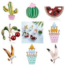 Rinhoo mignon plante en pot Cactus broches pastèque cerise aigle peint épingles Badges amoureux accessoires revers boutons broches