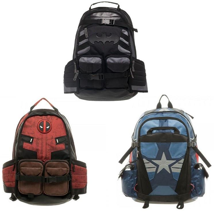 Marvel X man cartoon Deadpool batman captain American backpack bag school bag Computer Interlayer