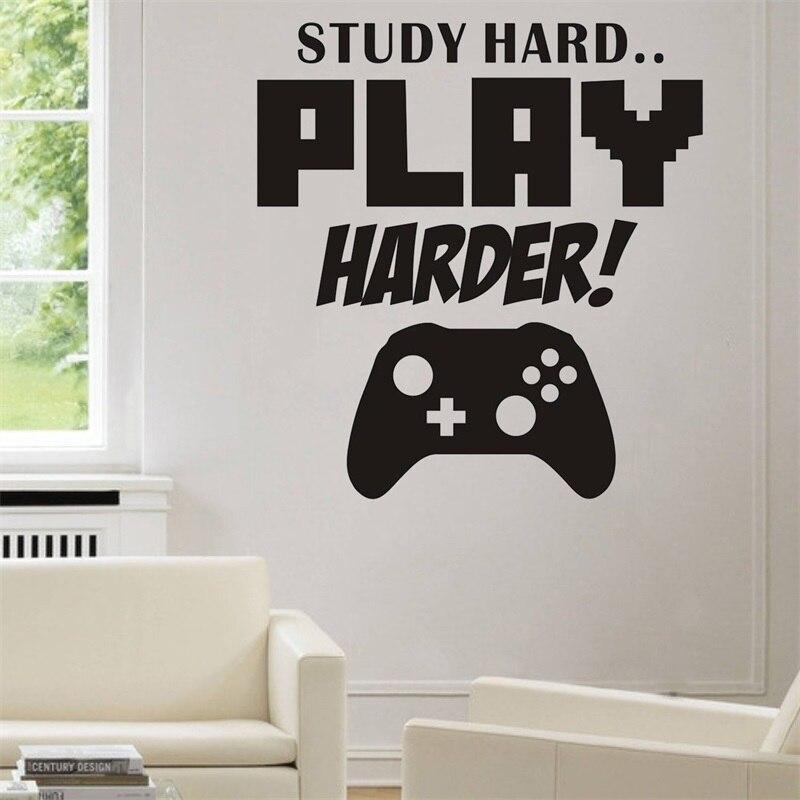 Estudio duro juego más duro sala de juegos pegatina Gamer juegos carteles vinilo pared calcomanías Parede decoración Mural Video juego pegatinas