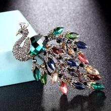 Zlxgirl grande taille strass paon broche bijoux de mariage bijoux de mariée femmes broche broche de mode écharpe broches chapeaux accessoire