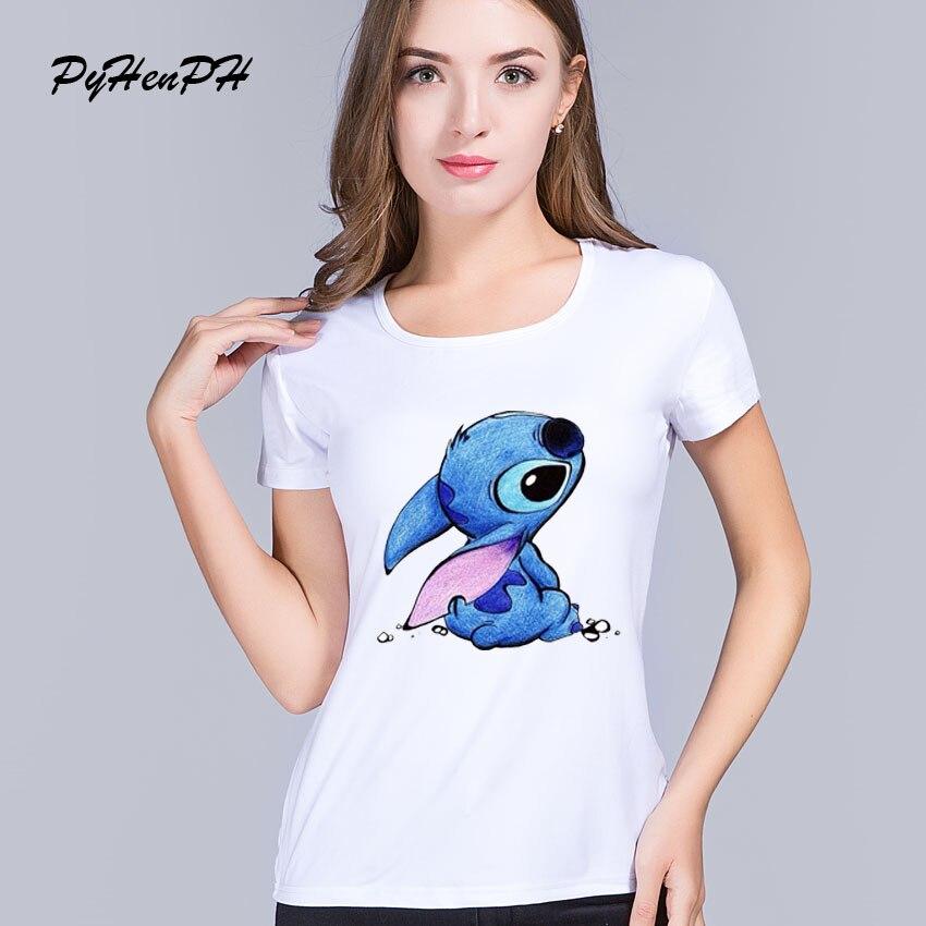 Novo estilo de verão das mulheres t camisa lilo & stitch padrão impressão o-pescoço tshirts moda ringer camiseta mulher topos camiseta kawaii femme
