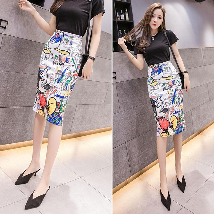 ATKULLQZ 2019 S-2XL High Waist Cartoon Mickey Skirt Print Knee Length Skirts Women Harajuku Street Kwaii Stretchy Pencil Skirt