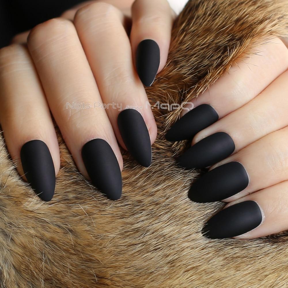 24 Uds clavos stiletto nuevos negros plata medio cool uñas falsas metal mate regalo cromo uñas falsas de alta calidad MqpQ DIY