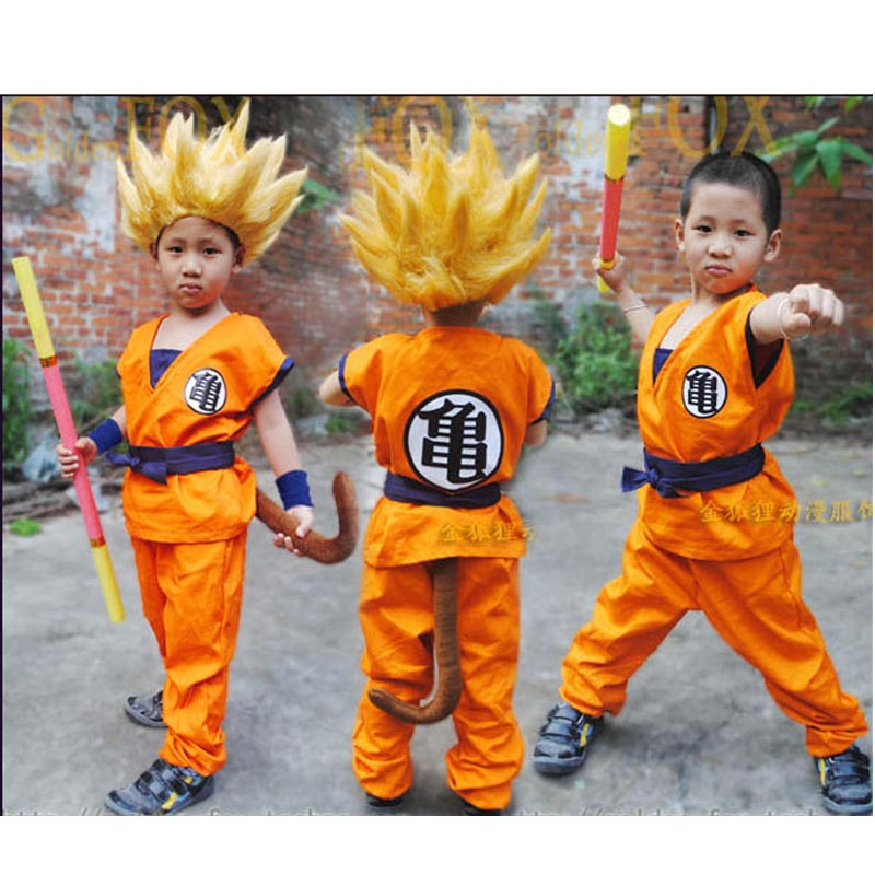 2021 New Hot GoKu Cosplay Children turtler cosplay clothing Japan cartoon wukong clothes+wig Halloween Costume Cheap
