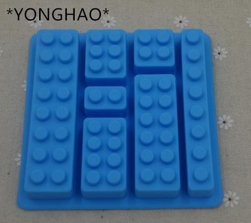 Yonghao herramienta pastel Lego juguete forma de ladrillo para fondant de silicona molde de Chocolate, hielo cubo molde dulce manualidades para pasteles, gelatinas, dulces para hornear pastel herramientas