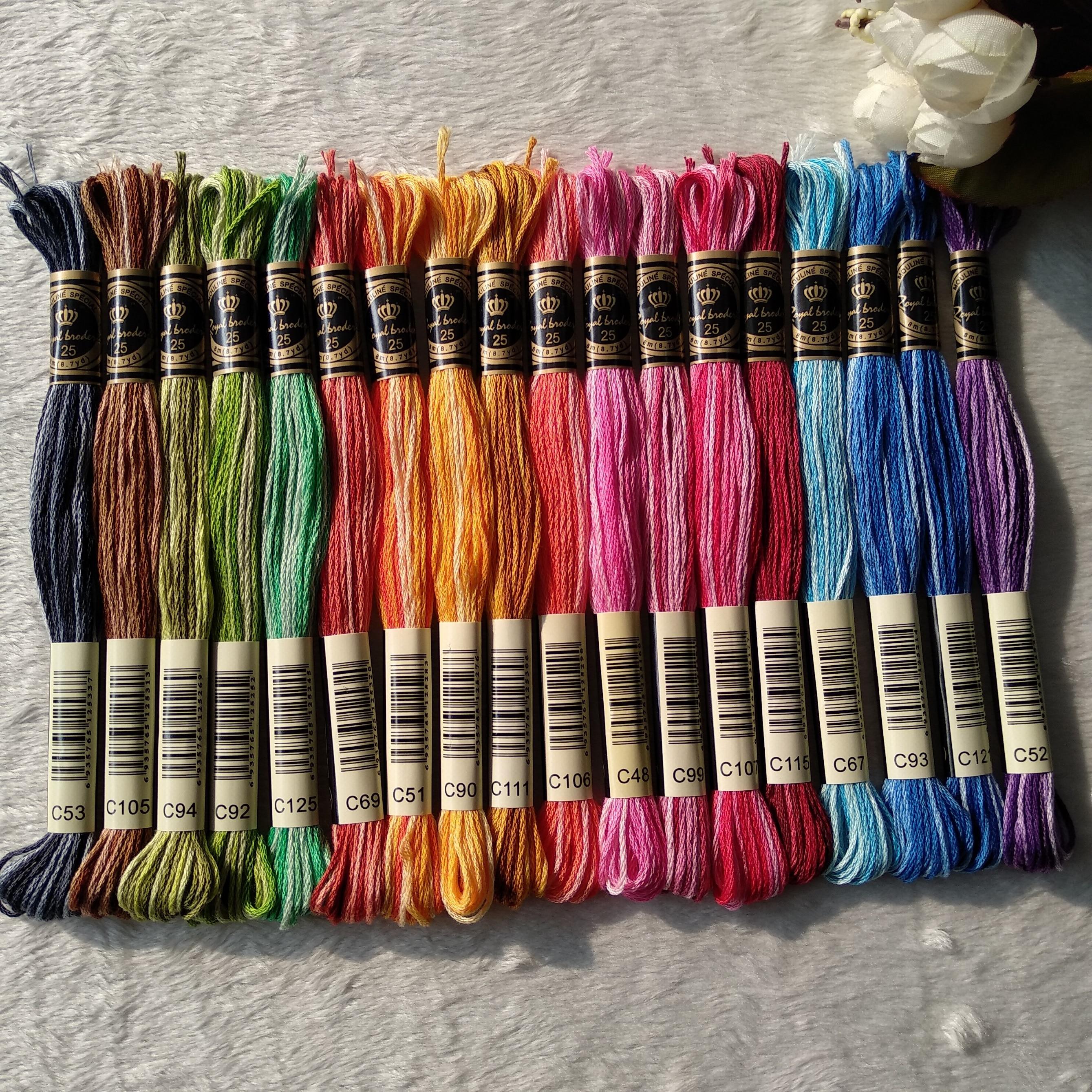 Hilo de punto de cruz de algodón con grapas largas egipcio Royalbroderie, bordado a mano, 18 colores teñidos con espacio, artesanías tejidas, hilos de hilo dental