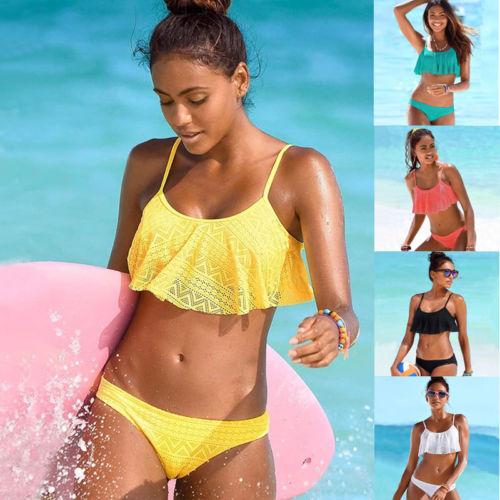 Two-Piece Bathing Suits Ruffles Women Push-up Padded Monokini Bandage Bikini Set Swimsuit Triangle Swimwear Beachwear Solid