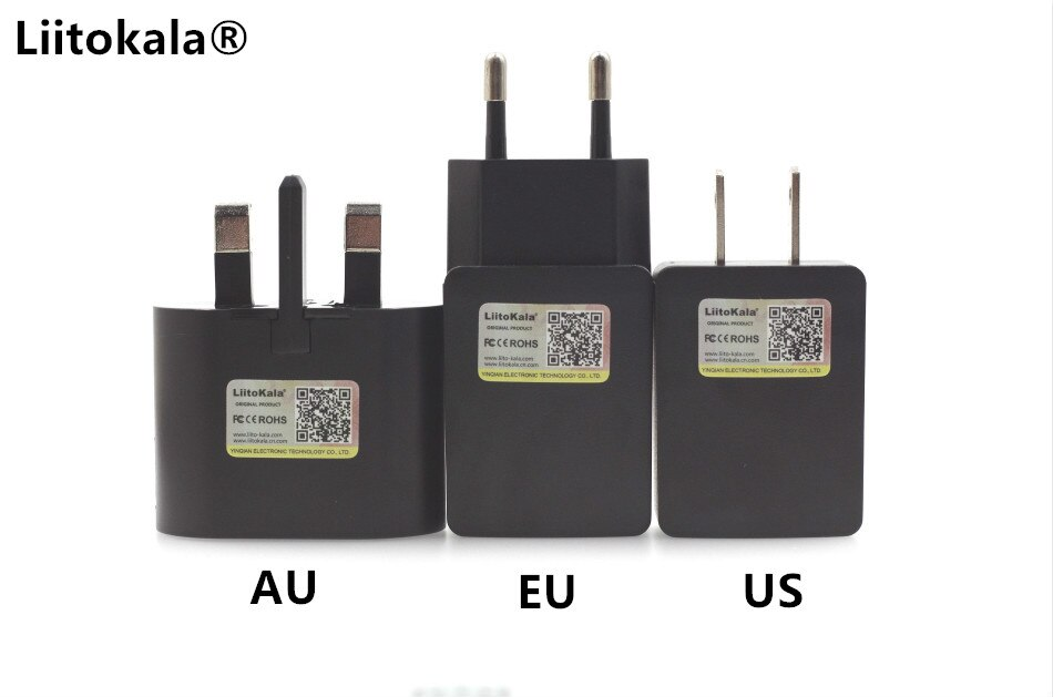 Liitokala 1A 2A USB prise AU Portable/prise US/prise EU; Lii100 Lii202 Lii402 chargeur connecteur universel