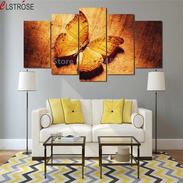 Lienzo de pintura de mariposa de oro CLSTROSE, 5 piezas de arte de pared, cuadros de decoración del hogar, pinturas modulares de pared para sala de estar sin marco