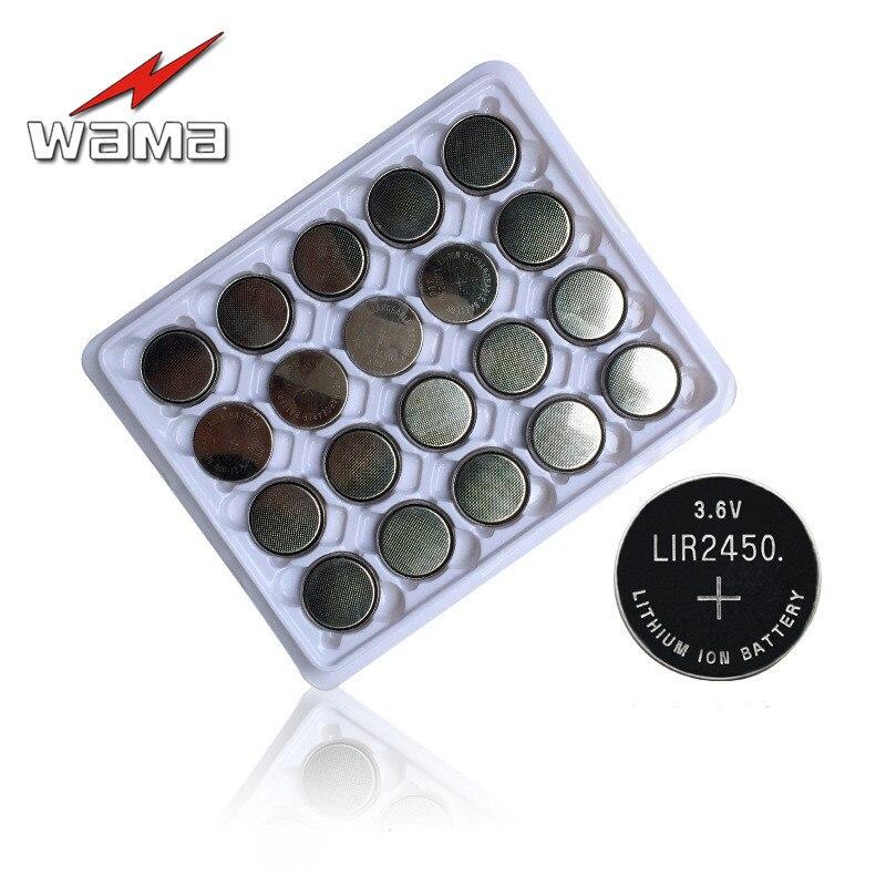 20x Wama 3.6 V LIR2450 akumulator przycisk baterii ładowania 500 razy bateria litowa ogniwa baterii wymienić CR2450 nowy