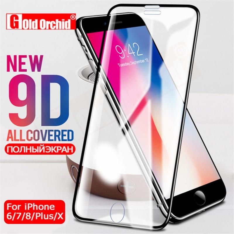 Vidrio Protector 9D para iPhone 6 6 S, Protector de pantalla templado de borde curvo para iPhone 8 7 Plus X película de vidrio