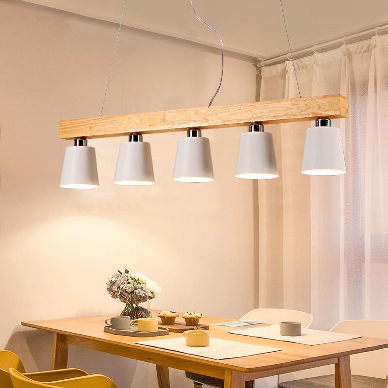 Скандинавский креативный обеденный стол лампа три пять E27 кабинет бар балкон люстра деревянная столовая Ресторан люстра свет
