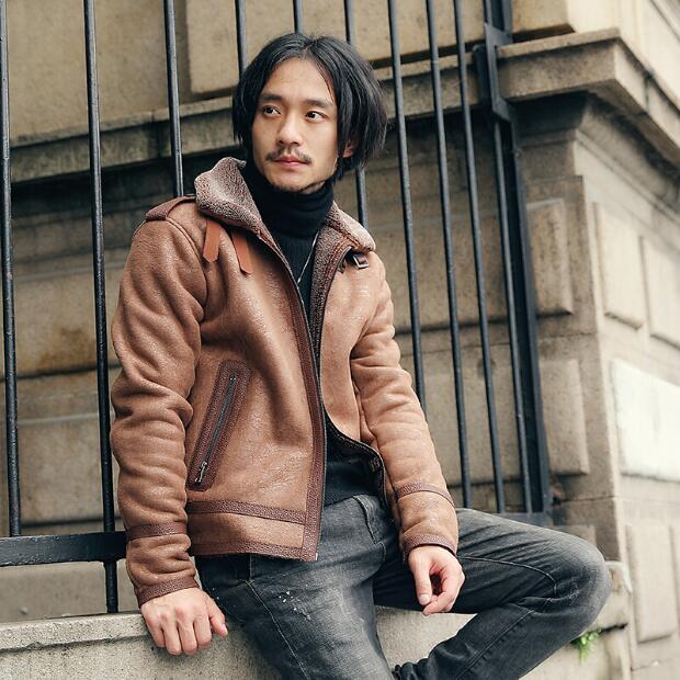 Short Suede Jacket Men With Fur Collar Coat Men's Faux Leather Jacket Men Black Brown Slim Fit Short Thick Winter Fur Coat M-XXL