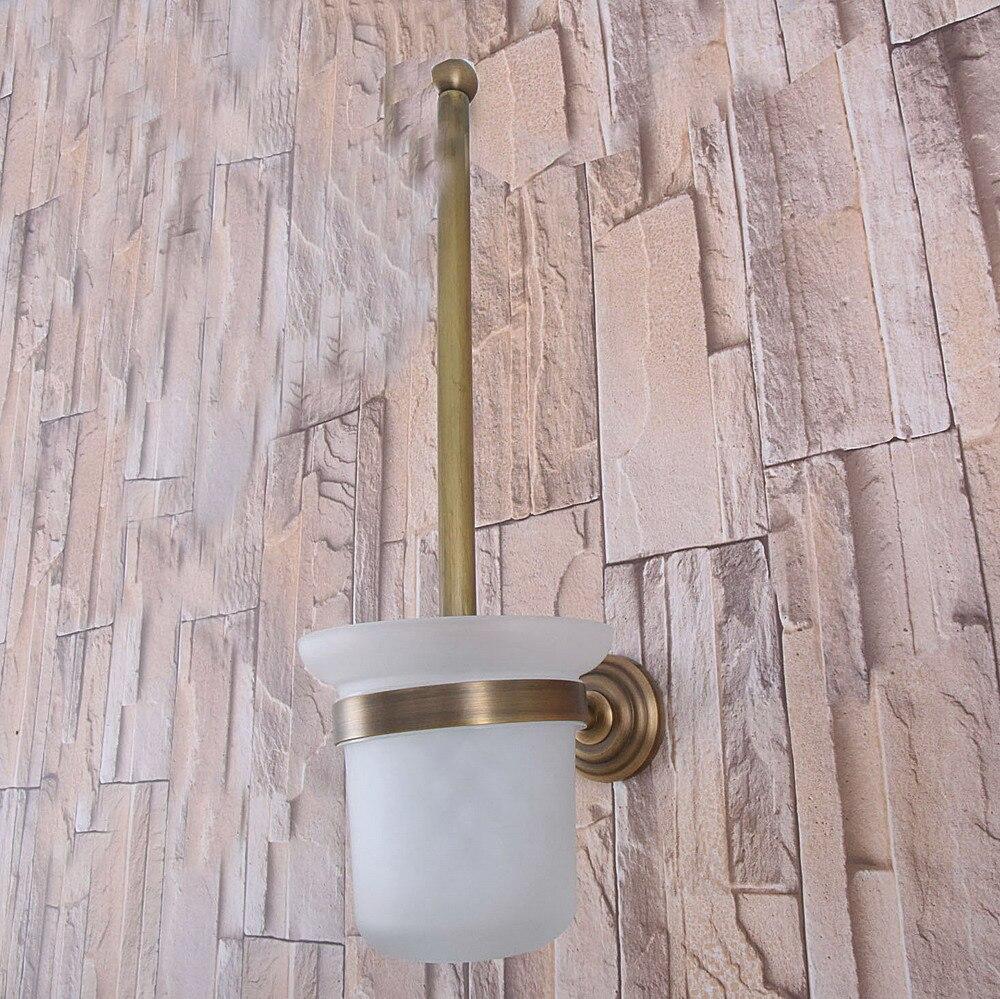حامل فرشاة المرحاض النحاسي العتيق المثبت على الحائط ، مجموعة ملحقات الحمام ، كوب زجاجي مفرد mba735