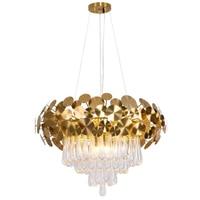 New shaped living room crystal chandelier design gold round drop crystal decorative lights