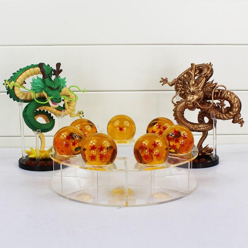 7PCS 3.5cm Crystal Dragon Balls and 1 pcs Acrylic Tray and 1pc15cm Shenron Shenlong Dragon Ball Z Figurines DragonBall set Toys