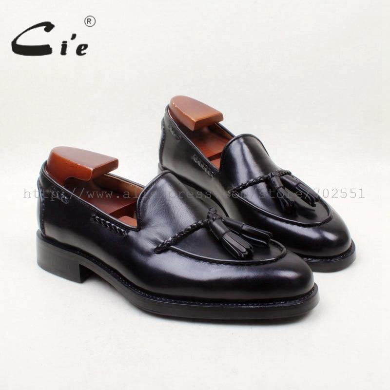 حذاء رجالي بدون كعب ماركة cie بمقدمة مستديرة 100% مصنوع يدويًا من الجلد الطبيعي ومزين بشراشيب باللون الأسود ومخصص حسب الطلب موديل عام 158