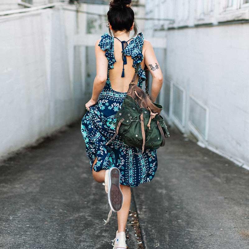 Boho zainspirowany 2017 letnie sukienki kwiatowy print cotton backless długi maxi dress hippie chic ruffles rękawem kobiety sexy vestidos 10