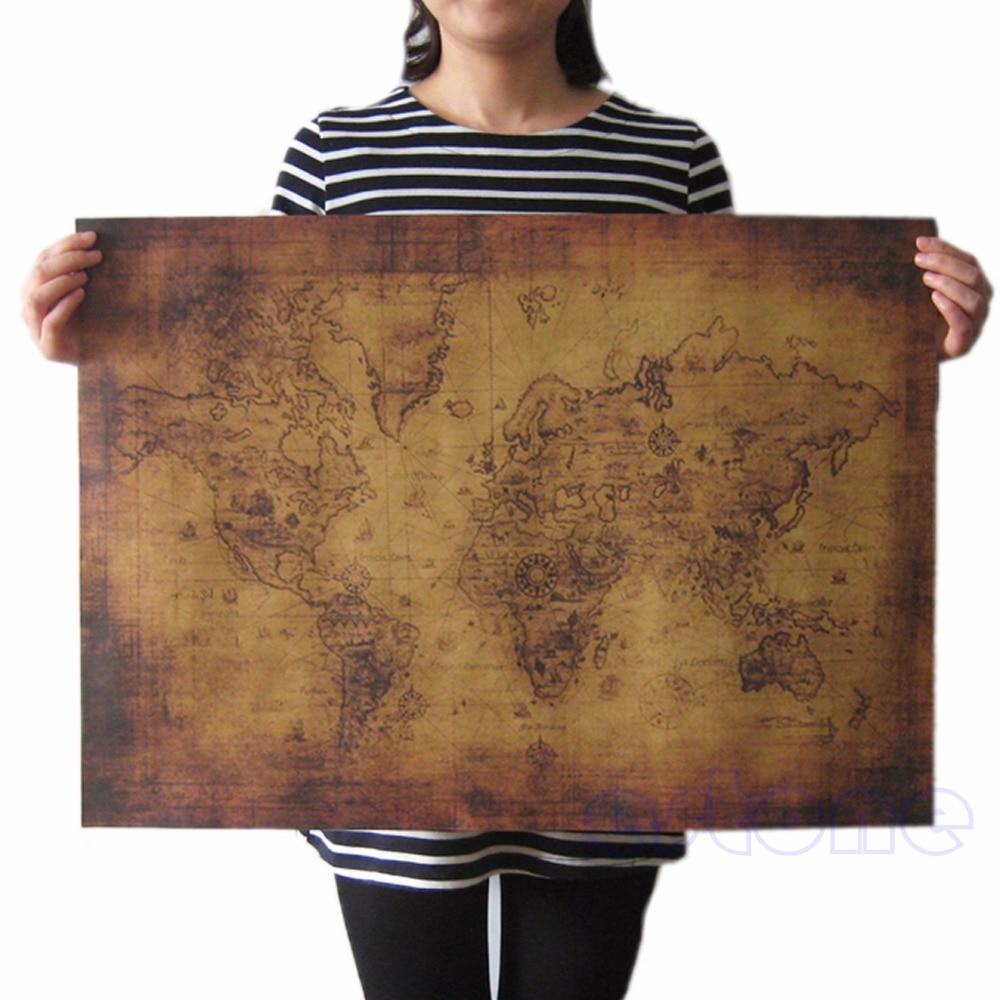 ¡Oferta! Póster grande de papel Retro Estilo Vintage globo regalos de Mapa del viejo mundo 71x51cm HT0809