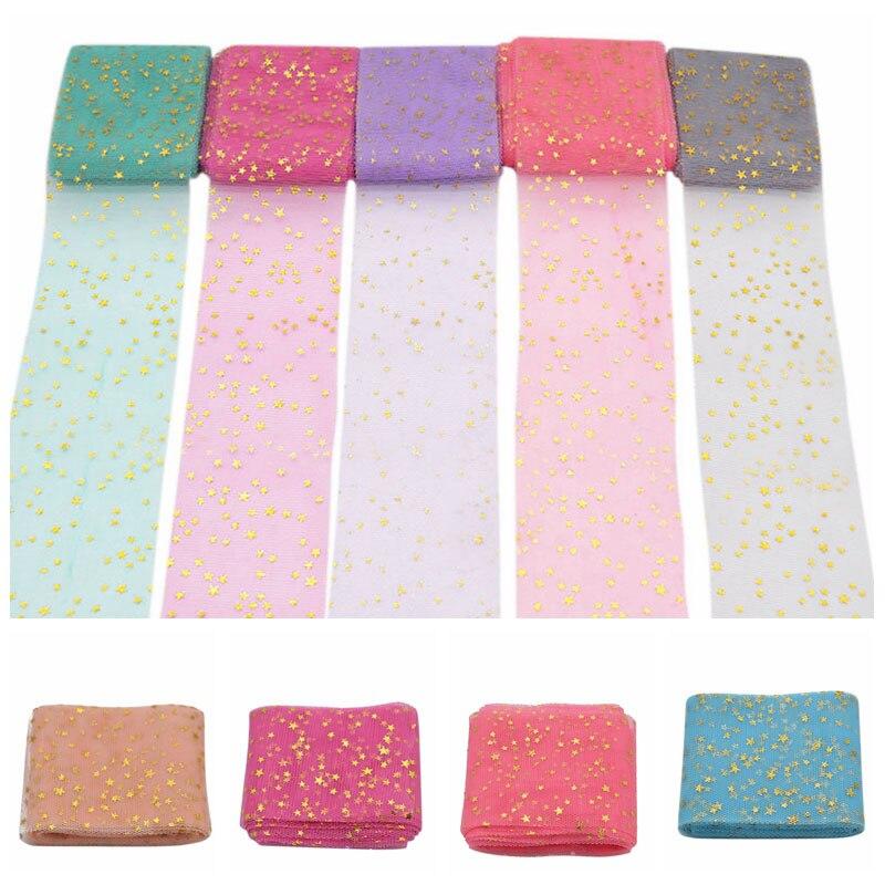 Moda 5M Bling estrellas impresas rollo de tul para DIY carrete para tela artesanías decorativas para boda artesanías suministros festivos para fiestas