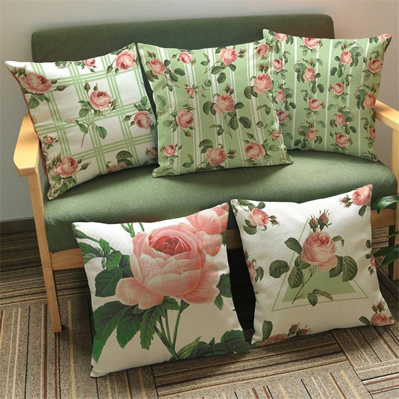 Funda de cojín con diseño de flor rosa de Pastoral Europea, 45x45, funda de cojín, sofá, coche, cafetería, club, hogar, decoración para salón, regalo
