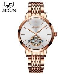 JSDUN Relógio Mulher Feminino Mecânica Skeleton Tourbillon Relógio De Pulso 2019 Moda Aço Inoxidável Relógios Automáticos Casuais Senhora