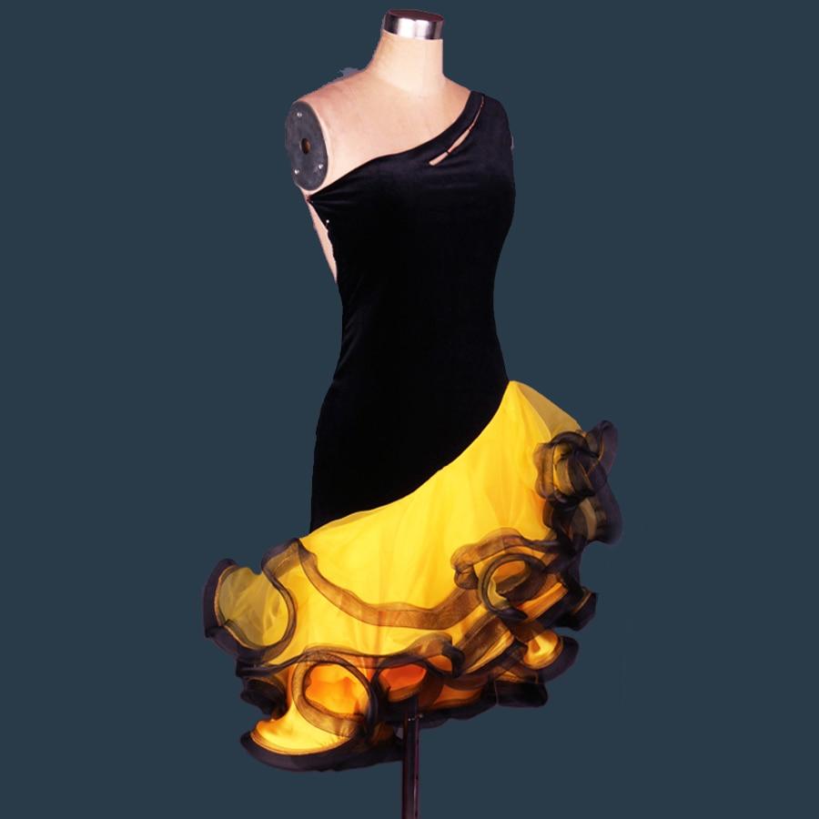 2019 niñas/señora Vestido de baile latino adulto/niños personalizado-falda de terciopelo tamaño Cha/Rumba/Samba/Tango/Vestido JDQ30311