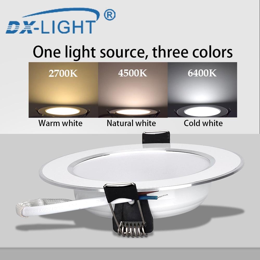 Drei Farbe Dimmbare Ultradünne 5 W 9W 12W 15W LED Decke Runde Einbau-downlight IP65 Wasserdichte 220V 230V 240V Spot Beleuchtung