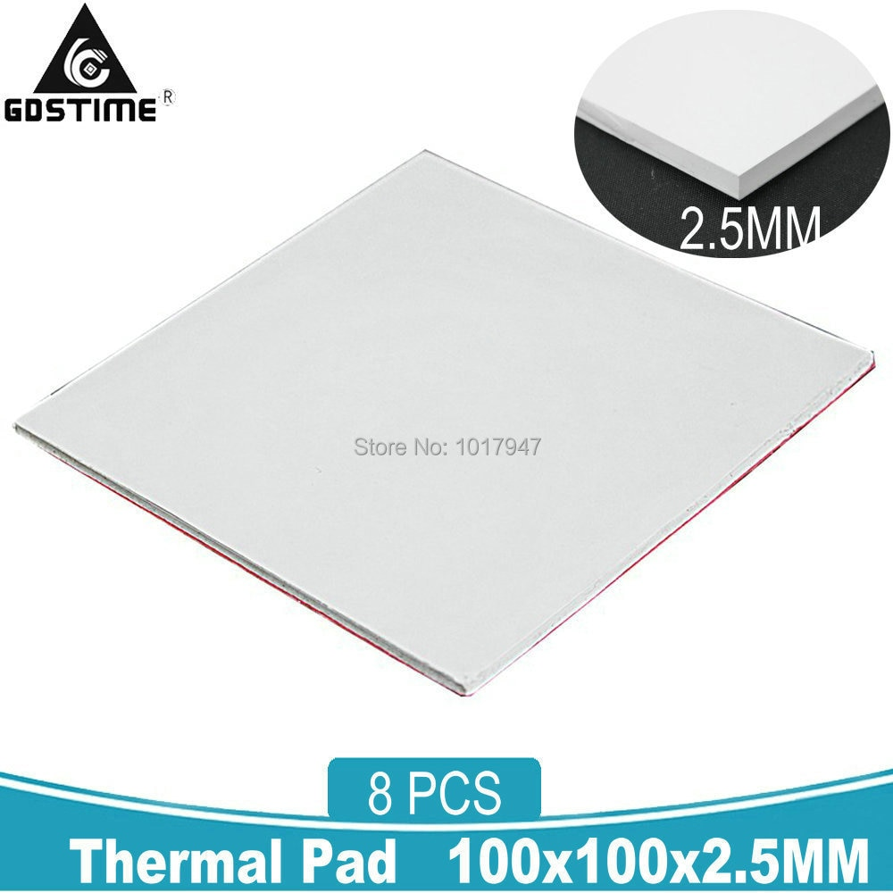 8 Pcs Gdstime 100x100x2.5MM GPU Thermal Conductive Heatsink Cooling Silicone Pad 2.5mm Gray Blue 10 pcs to 220 silicone thermal heatsink insulator pads w insulating particles for lm78xx lm317 tdaxx