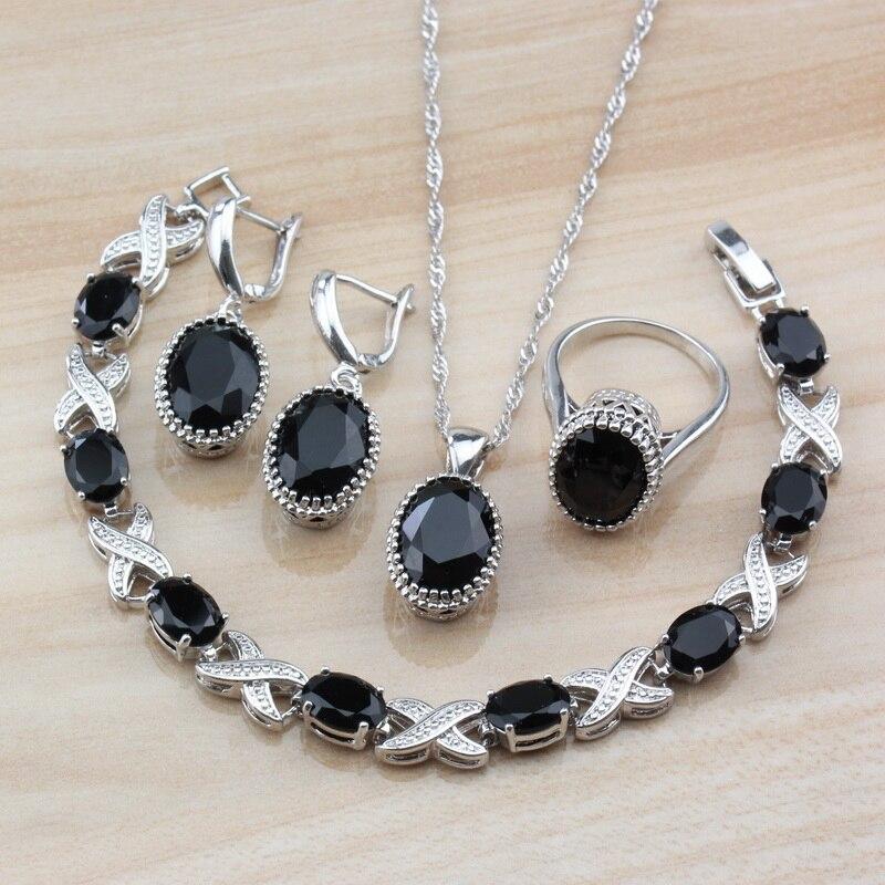 Женский комплект украшений с овальным черным кубическим цирконием, Серебристые серьги/ожерелье/браслет и кольцо для юного костюма